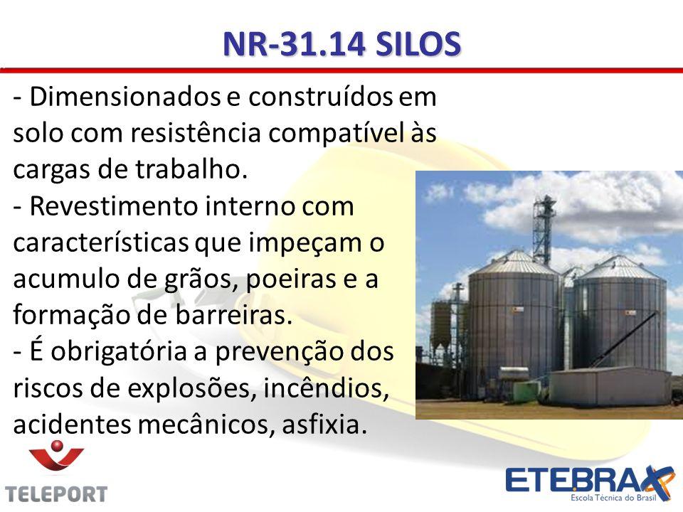 NR-31.14 SILOS - Dimensionados e construídos em solo com resistência compatível às cargas de trabalho. - Revestimento interno com características que