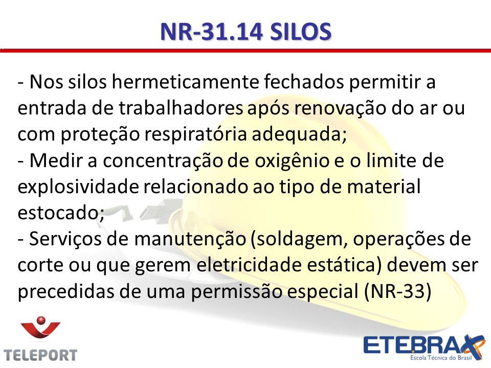 NR-31.14 SILOS - Nos silos hermeticamente fechados permitir a entrada de trabalhadores após renovação do ar ou com proteção respiratória adequada; - Medir a concentração de oxigênio e o limite de explosividade relacionado ao tipo de material estocado; - Serviços de manutenção (soldagem, operações de corte ou que gerem eletricidade estática) devem ser precedidas de uma permissão especial (NR-33)