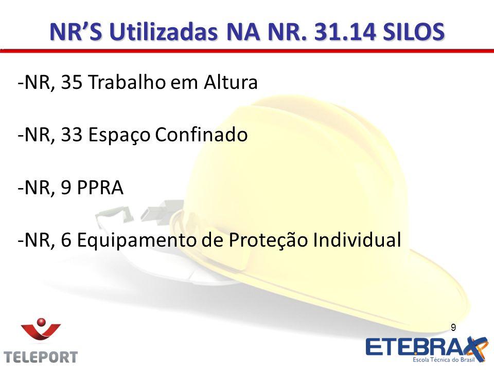 9 NRS Utilizadas NA NR. 31.14 SILOS -NR, 35 Trabalho em Altura -NR, 33 Espaço Confinado -NR, 9 PPRA -NR, 6 Equipamento de Proteção Individual