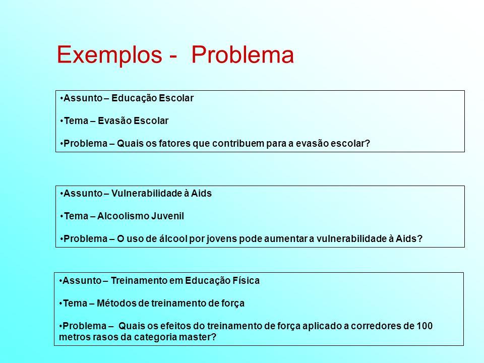 Exemplos - Problema Assunto – Educação Escolar Tema – Evasão Escolar Problema – Quais os fatores que contribuem para a evasão escolar? Assunto – Trein