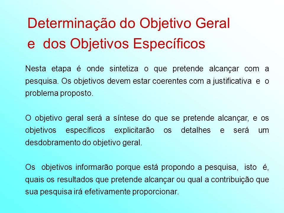Determinação do Objetivo Geral e dos Objetivos Específicos Nesta etapa é onde sintetiza o que pretende alcançar com a pesquisa. Os objetivos devem est