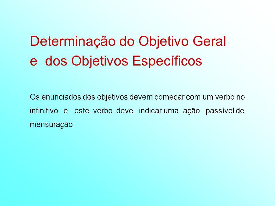 Determinação do Objetivo Geral e dos Objetivos Específicos Os enunciados dos objetivos devem começar com um verbo no infinitivo e este verbo deve indi