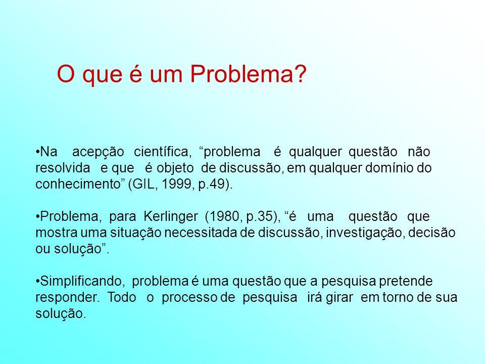 O que é um Problema? Na acepção científica, problema é qualquer questão não resolvida e que é objeto de discussão, em qualquer domínio do conhecimento
