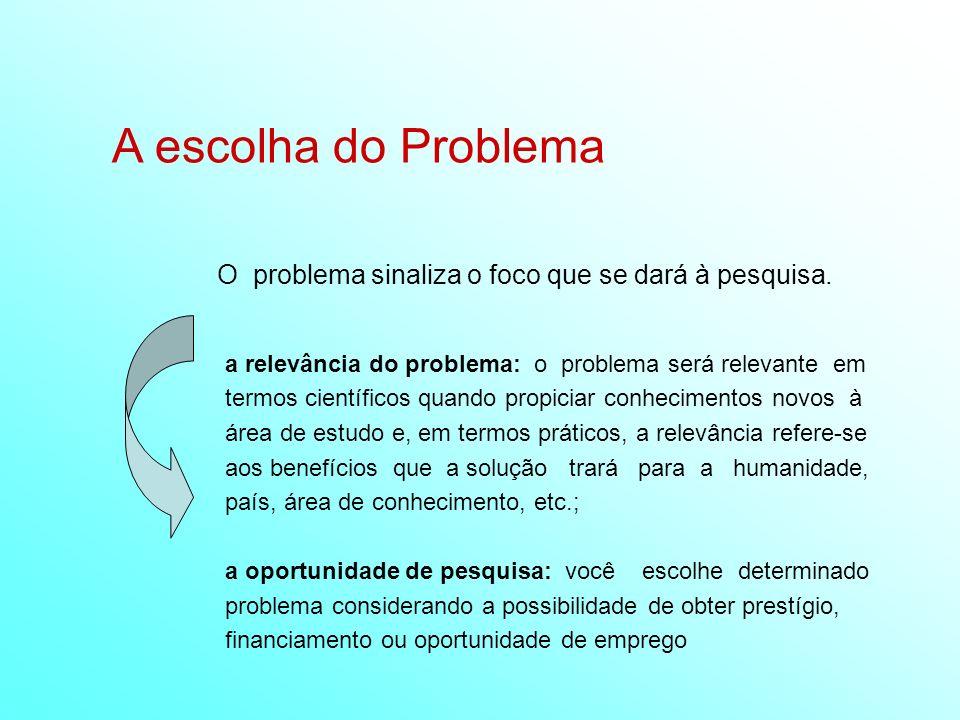 A escolha do Problema O problema sinaliza o foco que se dará à pesquisa. a relevância do problema: o problema será relevante em termos científicos qua