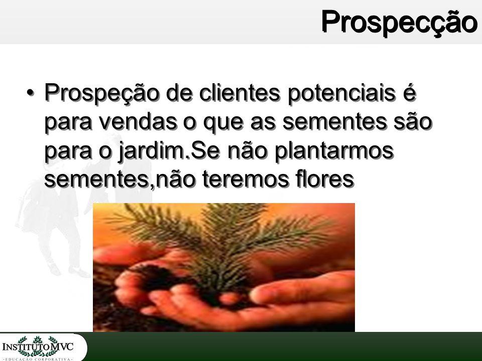Prospecção Prospeção de clientes potenciais é para vendas o que as sementes são para o jardim.Se não plantarmos sementes,não teremos flores