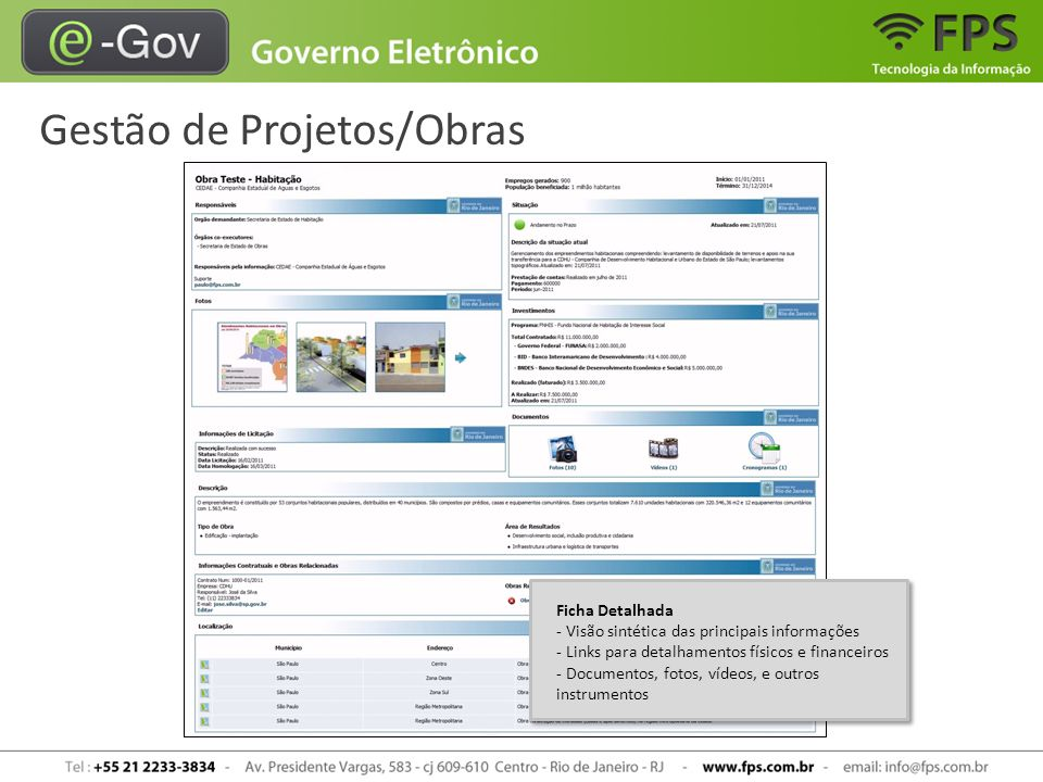 Gestão de Projetos/Obras Ficha Detalhada - Visão sintética das principais informações - Links para detalhamentos físicos e financeiros - Documentos, f