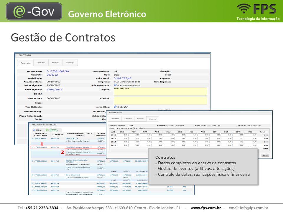 Gestão de Contratos Contratos - Dados completos do acervo de contratos - Gestão de eventos (aditivos, alterações) - Controle de datas, realizações fís