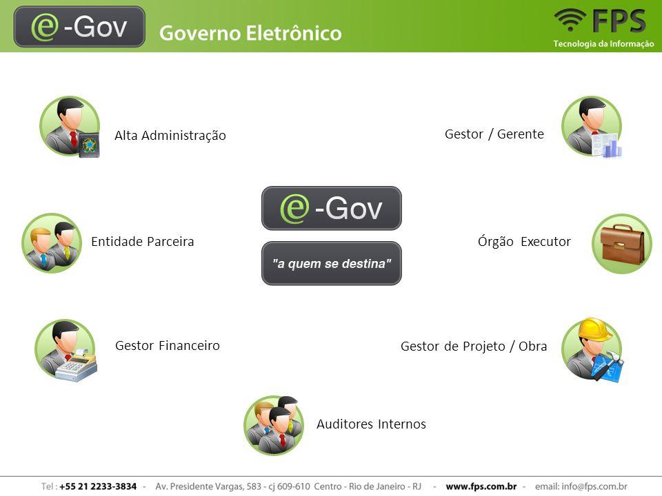 Os slides a seguir apresentam exemplos de módulos administrados pelo sistema e-Gov » Relatórios » Gráficos » Painéis de controle » Documentos » Fotos » Vídeos » Entre outros