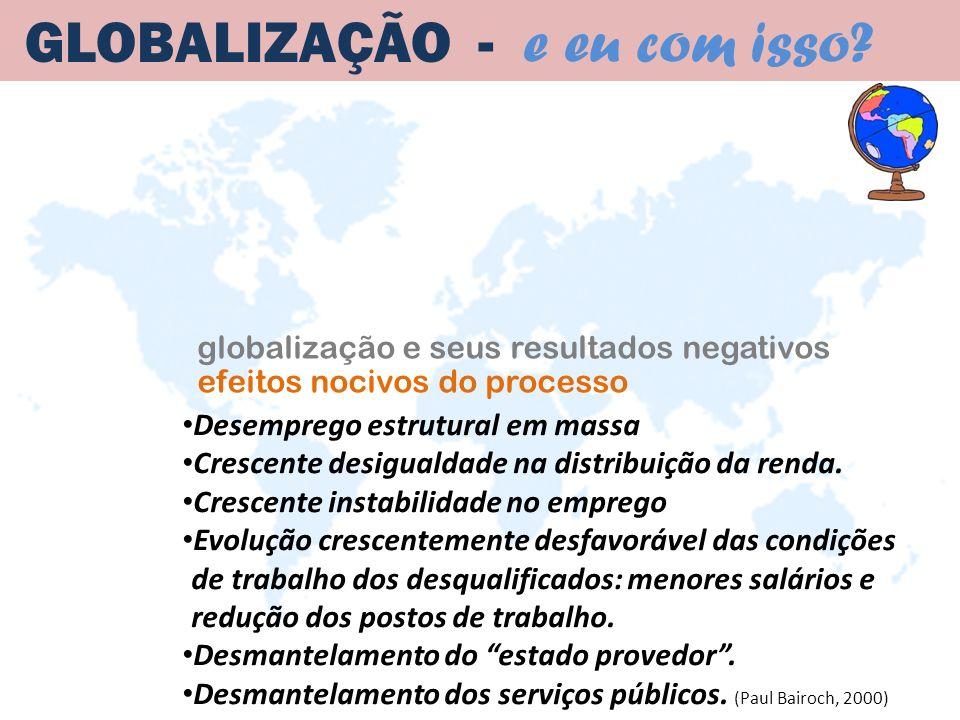 globalização e seus resultados negativos GLOBALIZAÇÃO - e eu com isso? Desemprego estrutural em massa Crescente desigualdade na distribuição da renda.
