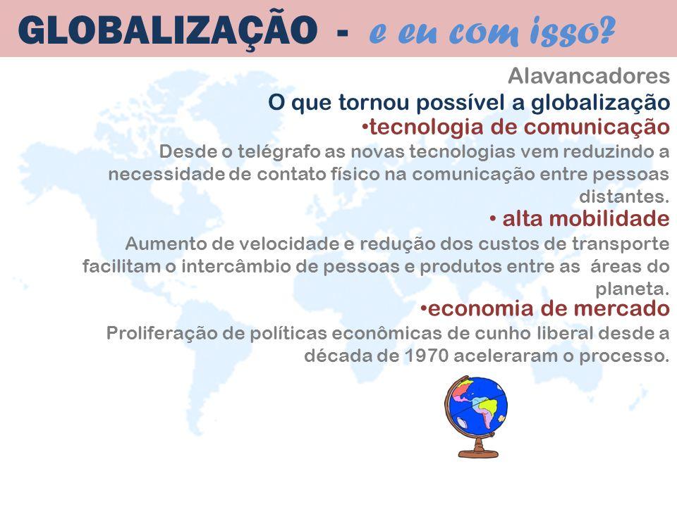 Alavancadores GLOBALIZAÇÃO - e eu com isso? economia de mercado Proliferação de políticas econômicas de cunho liberal desde a década de 1970 acelerara