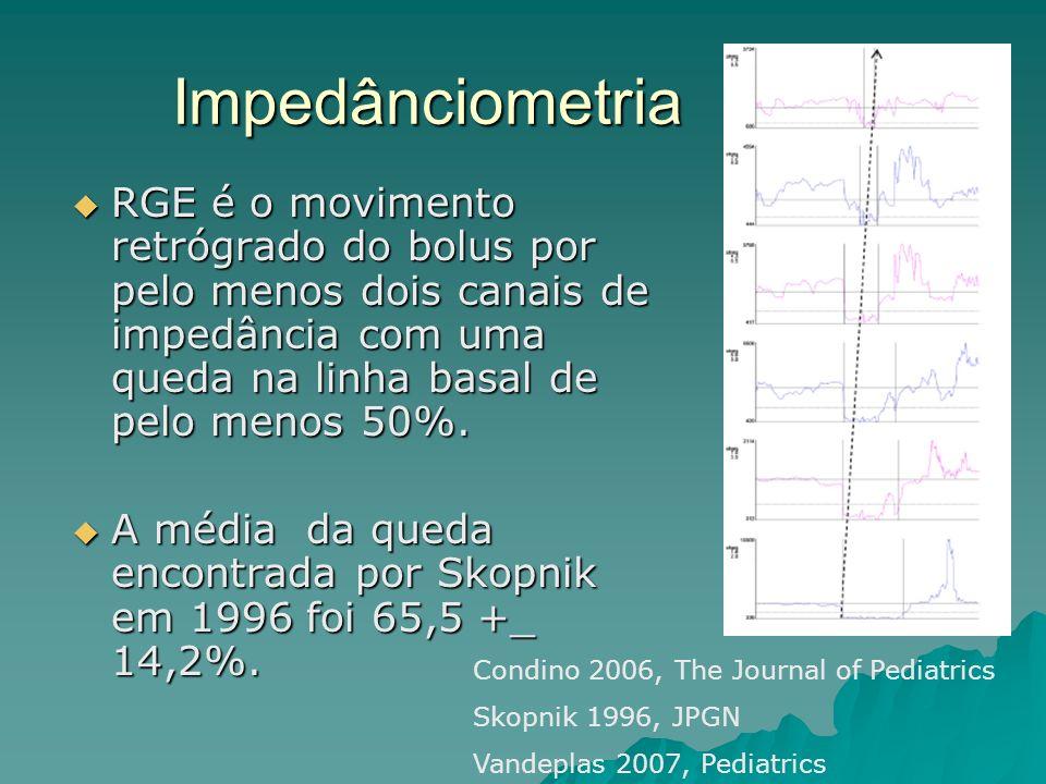 Impedânciometria RGE é o movimento retrógrado do bolus por pelo menos dois canais de impedância com uma queda na linha basal de pelo menos 50%. RGE é