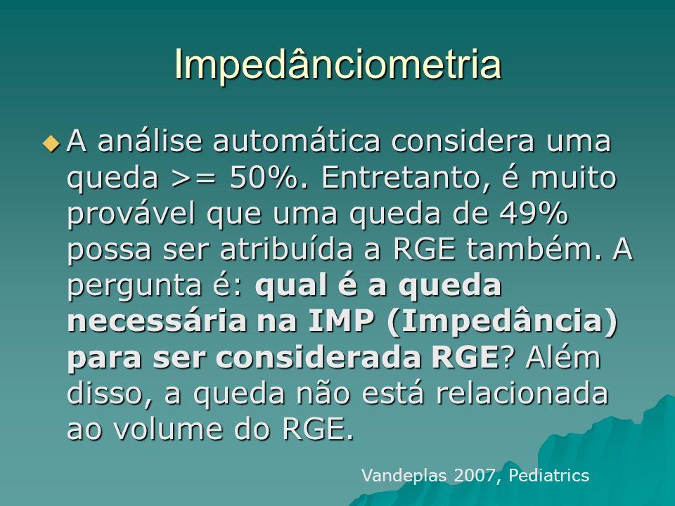 Impedânciometria A análise automática considera uma queda >= 50%. Entretanto, é muito provável que uma queda de 49% possa ser atribuída a RGE também.