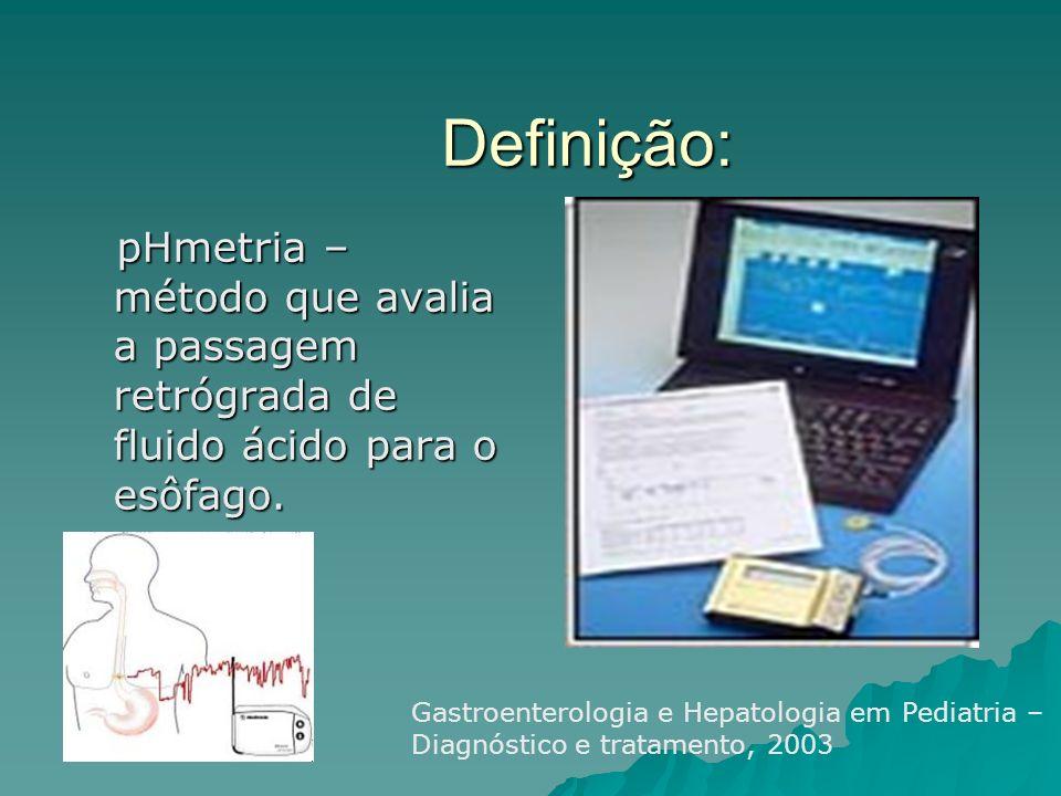 pHmetria Avalia a presença e a intensidade do refluxo ácido gastroesofágico e relaciona a queixa clínica com o refluxo ácido gastroesofágico.