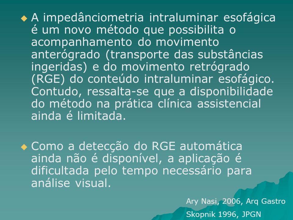 A impedânciometria intraluminar esofágica é um novo método que possibilita o acompanhamento do movimento anterógrado (transporte das substâncias inger