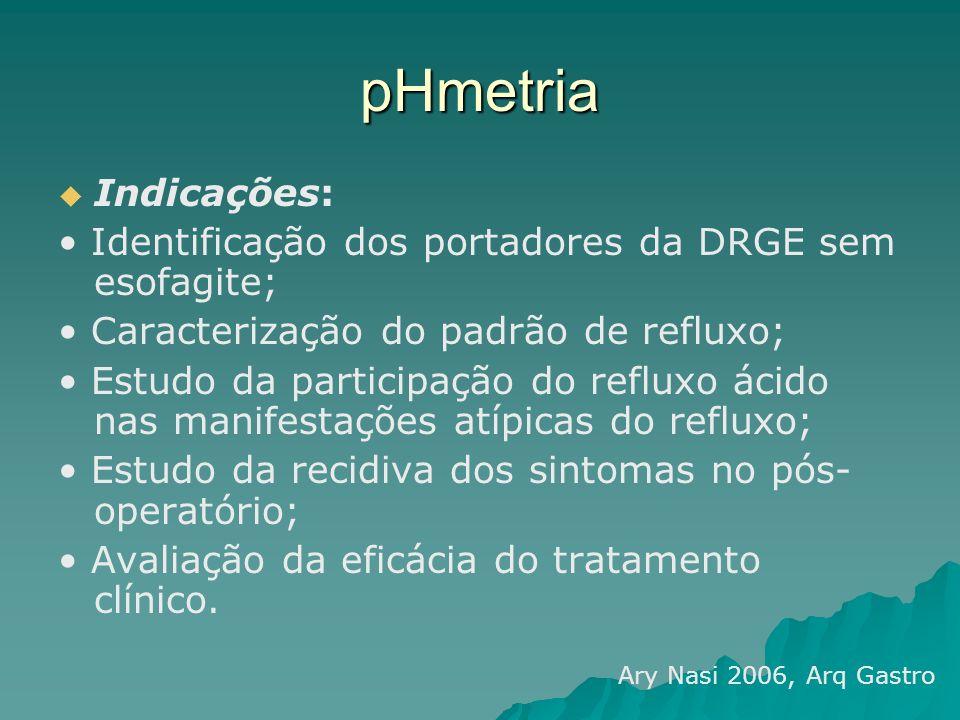 pHmetria Indicações: Identificação dos portadores da DRGE sem esofagite; Caracterização do padrão de refluxo; Estudo da participação do refluxo ácido
