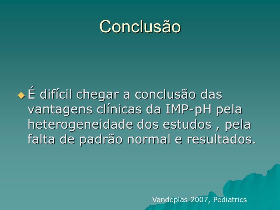 Conclusão É difícil chegar a conclusão das vantagens clínicas da IMP-pH pela heterogeneidade dos estudos, pela falta de padrão normal e resultados. É
