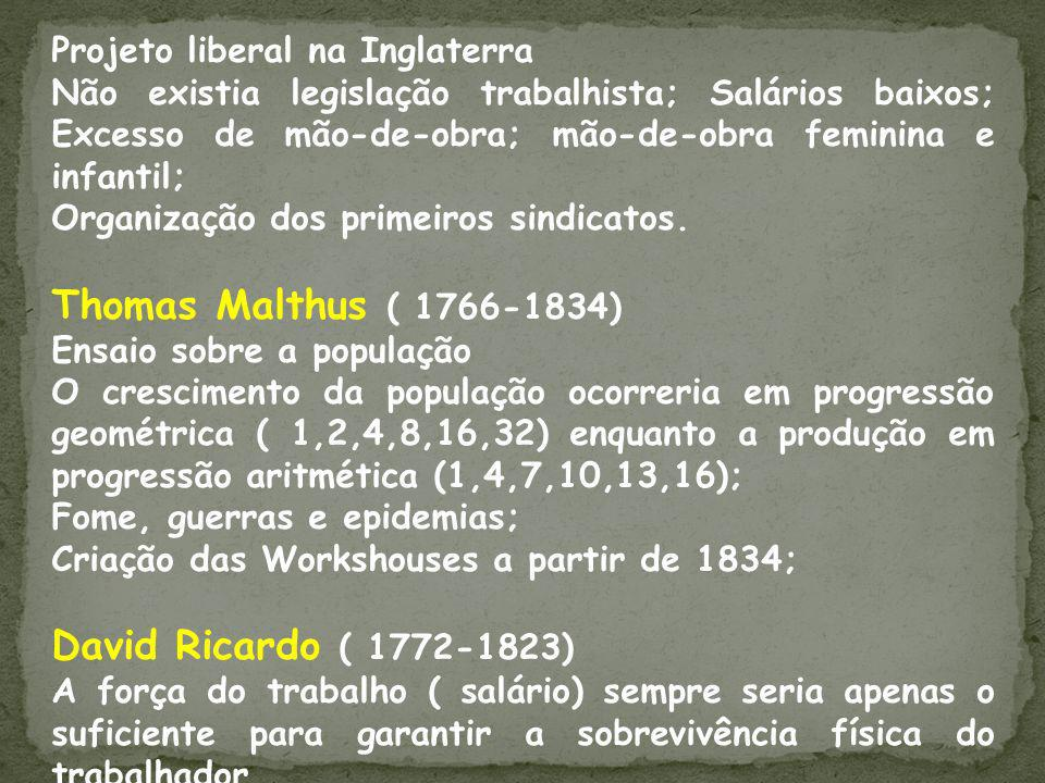 Em oposição ao Liberalismo os pensadores se dividiam em grupos distintos: socialistas utópicos, cristãos, científicos e anarquistas.