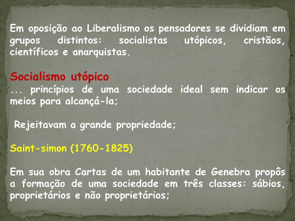 Em oposição ao Liberalismo os pensadores se dividiam em grupos distintos: socialistas utópicos, cristãos, científicos e anarquistas. Socialismo utópic