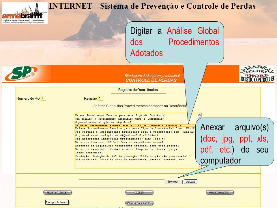 www.armabran.com.brwww.armabran.com.br armabran@armabran.com.br +55 22 7834-2589 ID 24*43943armabran@armabran.com.br Digitar a Análise Global dos Procedimentos Adotados Anexar arquivo(s) (doc, jpg, ppt, xls, pdf, etc.) do seu computador INTERNET - Sistema de Prevenção e Controle de Perdas