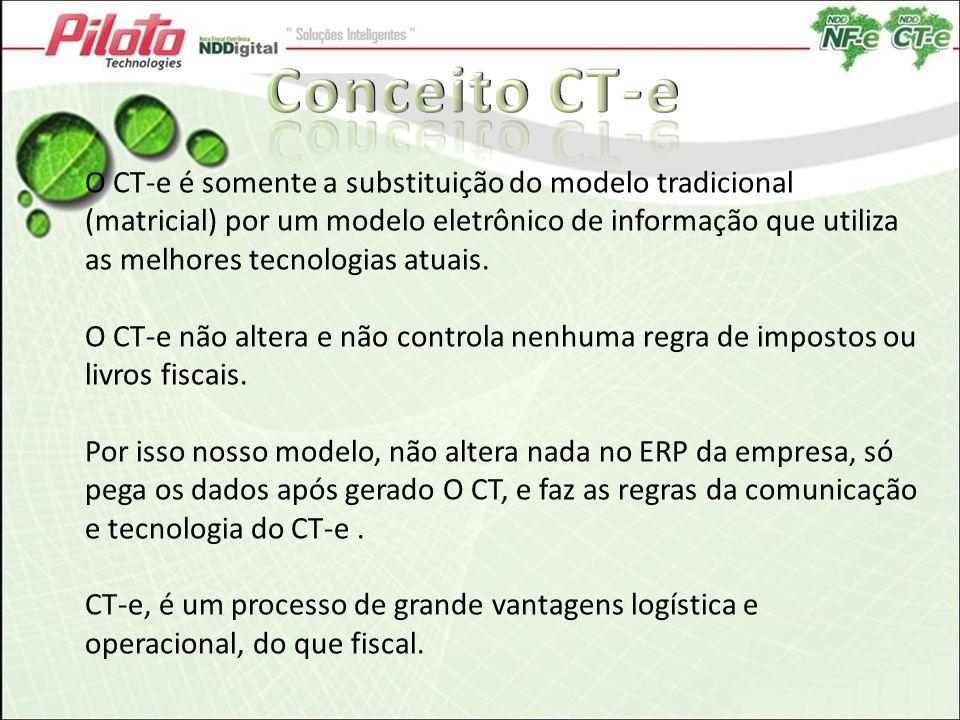 O CT-e é somente a substituição do modelo tradicional (matricial) por um modelo eletrônico de informação que utiliza as melhores tecnologias atuais. O