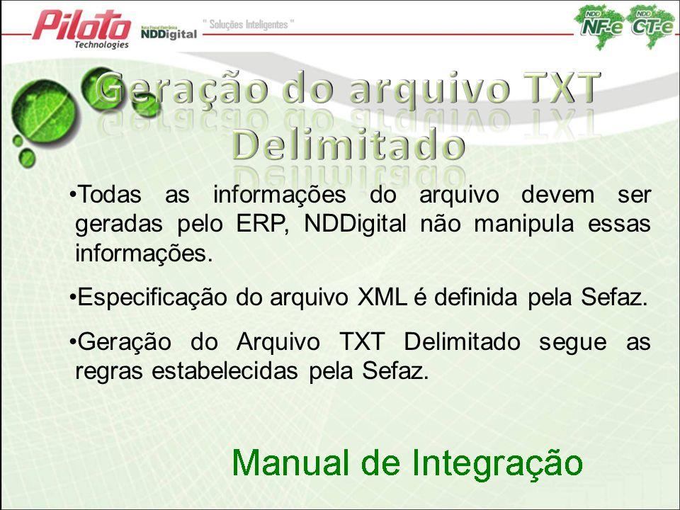 Todas as informações do arquivo devem ser geradas pelo ERP, NDDigital não manipula essas informações. Especificação do arquivo XML é definida pela Sef