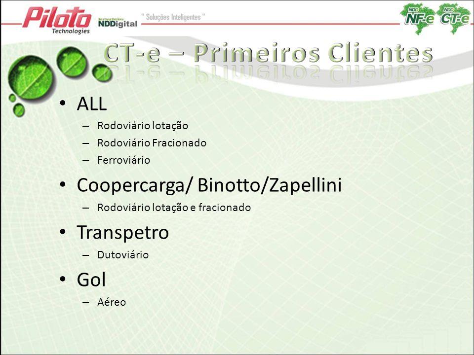 http://cte.ntcelogistica.org.br/ ALL – Rodoviário lotação – Rodoviário Fracionado – Ferroviário Coopercarga/ Binotto/Zapellini – Rodoviário lotação e