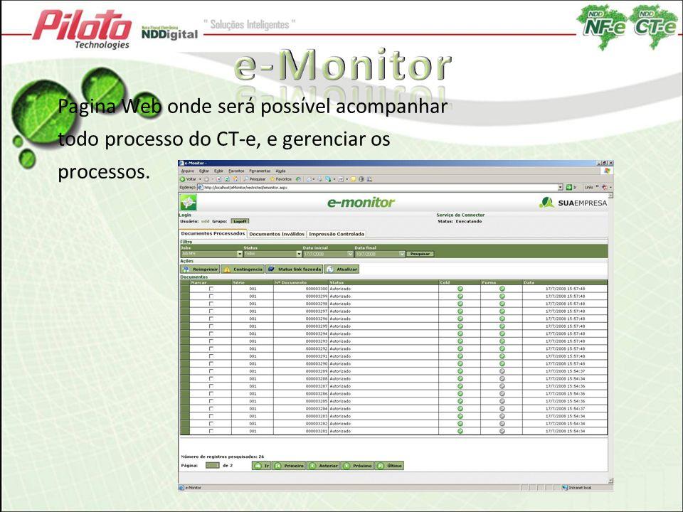 Pagina Web onde ser á poss í vel acompanhar todo processo do CT-e, e gerenciar os processos.