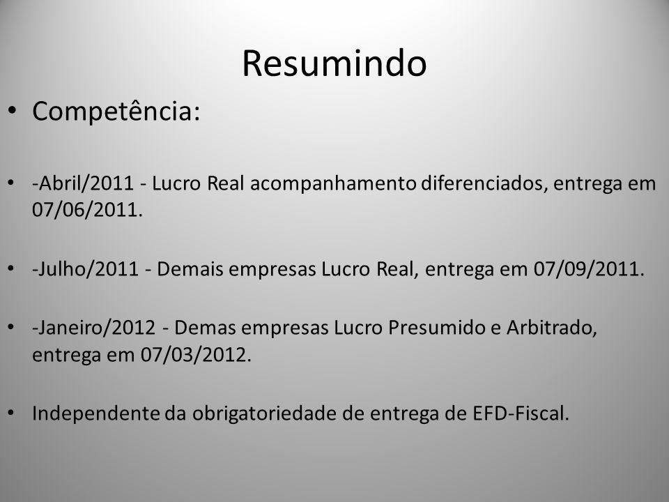 Resumindo Competência: -Abril/2011 - Lucro Real acompanhamento diferenciados, entrega em 07/06/2011. -Julho/2011 - Demais empresas Lucro Real, entrega