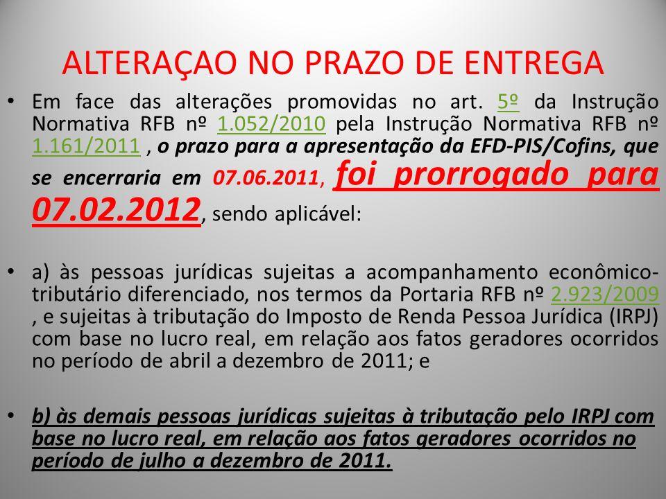 ALTERAÇAO NO PRAZO DE ENTREGA Em face das alterações promovidas no art. 5º da Instrução Normativa RFB nº 1.052/2010 pela Instrução Normativa RFB nº 1.