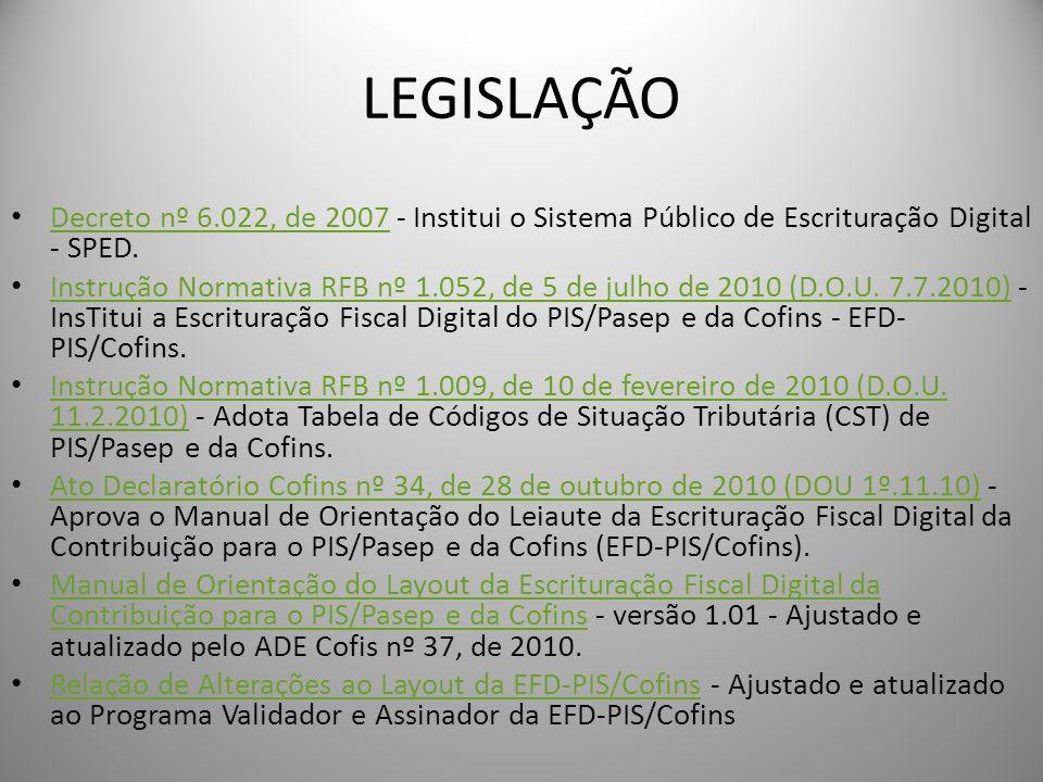 LEGISLAÇÃO Decreto nº 6.022, de 2007 - Institui o Sistema Público de Escrituração Digital - SPED. Decreto nº 6.022, de 2007 Instrução Normativa RFB nº