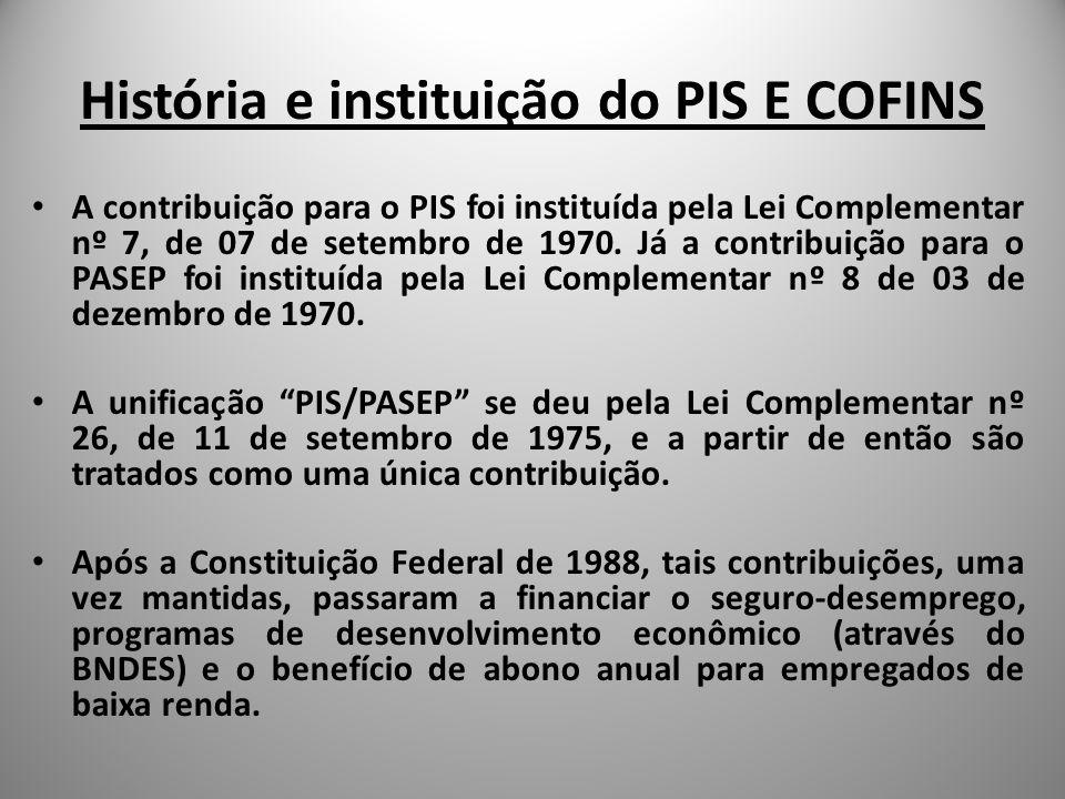 História e instituição do PIS E COFINS Já a COFINS foi instituída pela Lei Complementar nº 70, de 30 de dezembro de 1991.