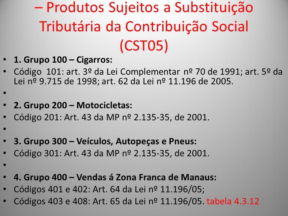 – Produtos Sujeitos a Substituição Tributária da Contribuição Social (CST05) 1. Grupo 100 – Cigarros: Código 101: art. 3º da Lei Complementar nº 70 de