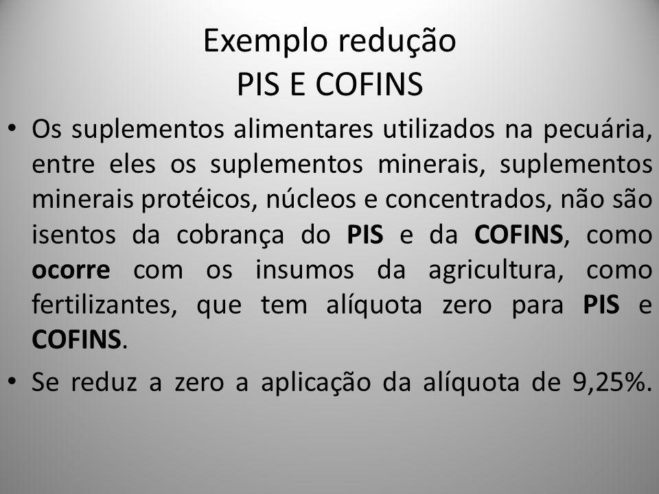 Exemplo redução PIS E COFINS Os suplementos alimentares utilizados na pecuária, entre eles os suplementos minerais, suplementos minerais protéicos, nú