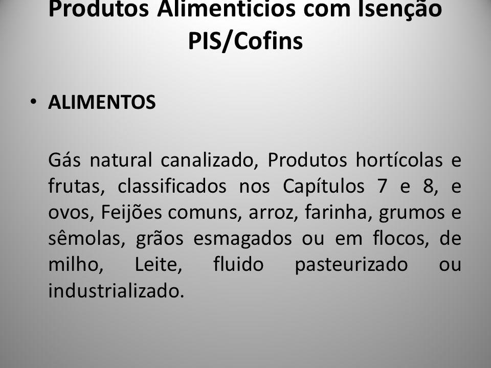 Produtos Alimenticios com Isenção PIS/Cofins ALIMENTOS Gás natural canalizado, Produtos hortícolas e frutas, classificados nos Capítulos 7 e 8, e ovos