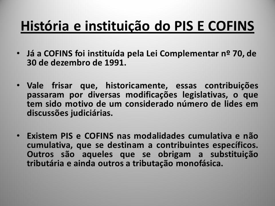 História e instituição do PIS E COFINS Já a COFINS foi instituída pela Lei Complementar nº 70, de 30 de dezembro de 1991. Vale frisar que, historicame