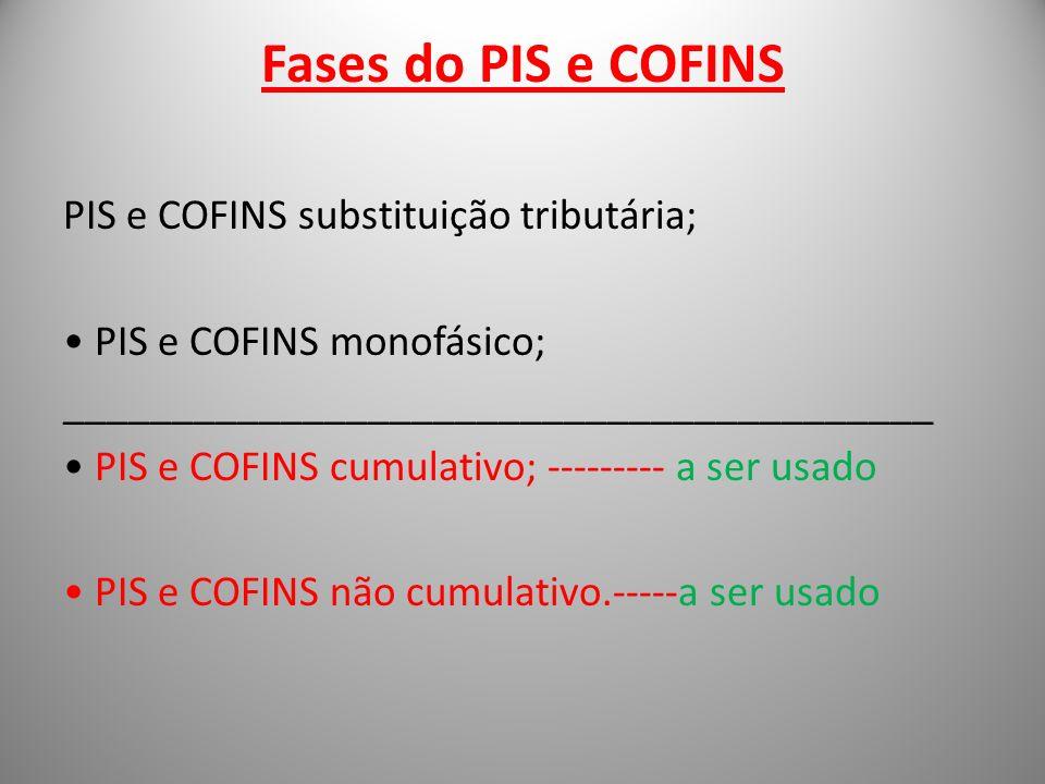 Fases do PIS e COFINS PIS e COFINS substituição tributária; PIS e COFINS monofásico; ________________________________________ PIS e COFINS cumulativo;