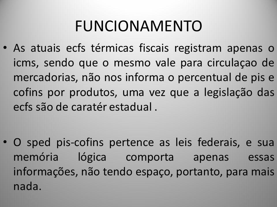 FUNCIONAMENTO As atuais ecfs térmicas fiscais registram apenas o icms, sendo que o mesmo vale para circulaçao de mercadorias, não nos informa o percen
