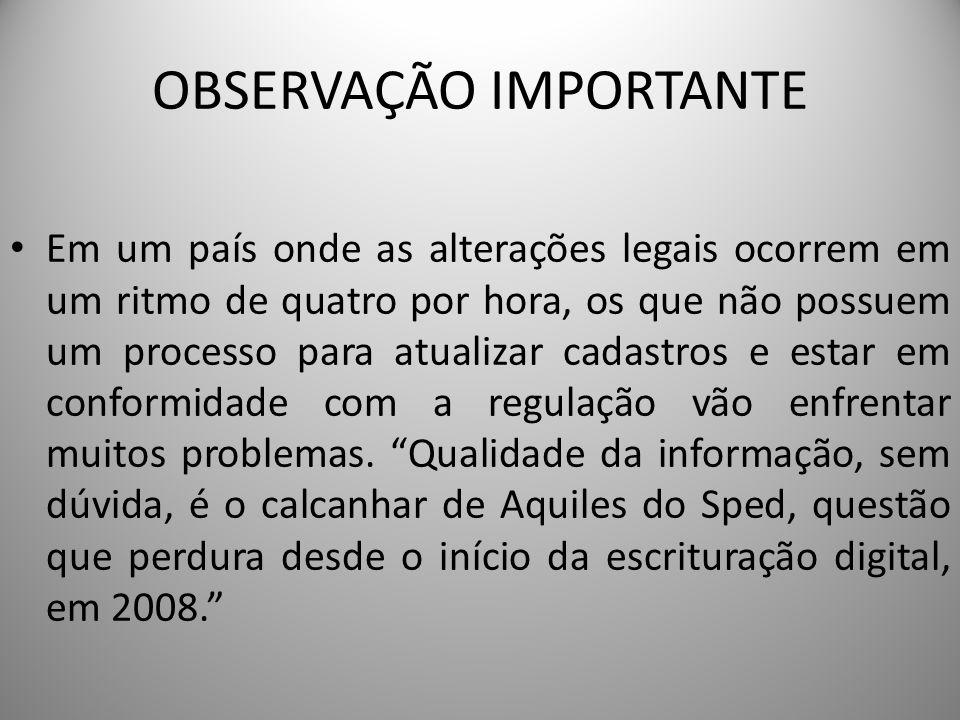 OBSERVAÇÃO IMPORTANTE Em um país onde as alterações legais ocorrem em um ritmo de quatro por hora, os que não possuem um processo para atualizar cadas