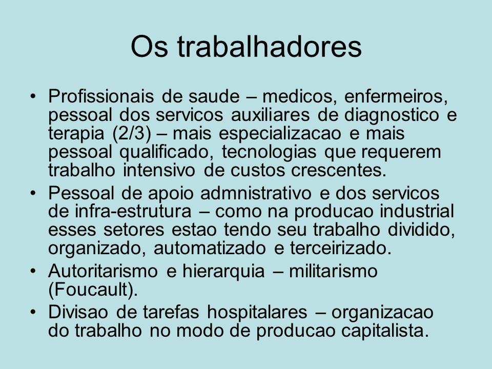 Os trabalhadores Profissionais de saude – medicos, enfermeiros, pessoal dos servicos auxiliares de diagnostico e terapia (2/3) – mais especializacao e
