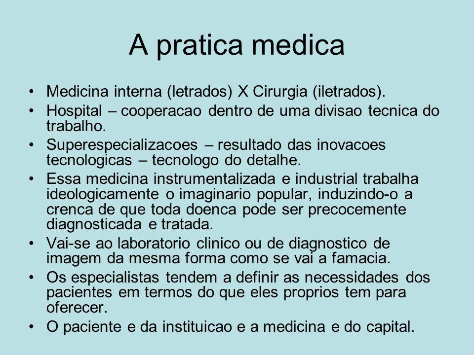 A pratica medica Medicina interna (letrados) X Cirurgia (iletrados). Hospital – cooperacao dentro de uma divisao tecnica do trabalho. Superespecializa