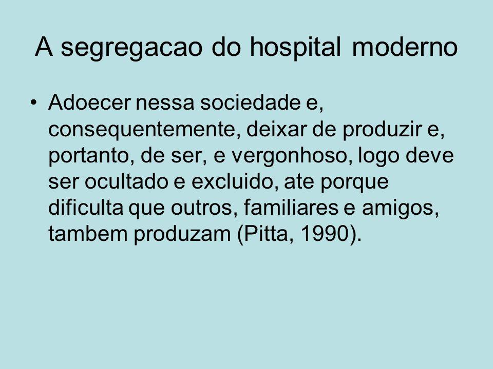 A segregacao do hospital moderno Adoecer nessa sociedade e, consequentemente, deixar de produzir e, portanto, de ser, e vergonhoso, logo deve ser ocul