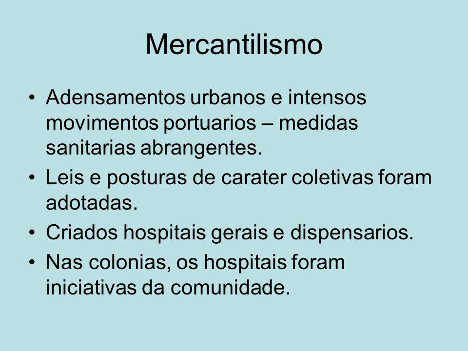 Mercantilismo Adensamentos urbanos e intensos movimentos portuarios – medidas sanitarias abrangentes. Leis e posturas de carater coletivas foram adota