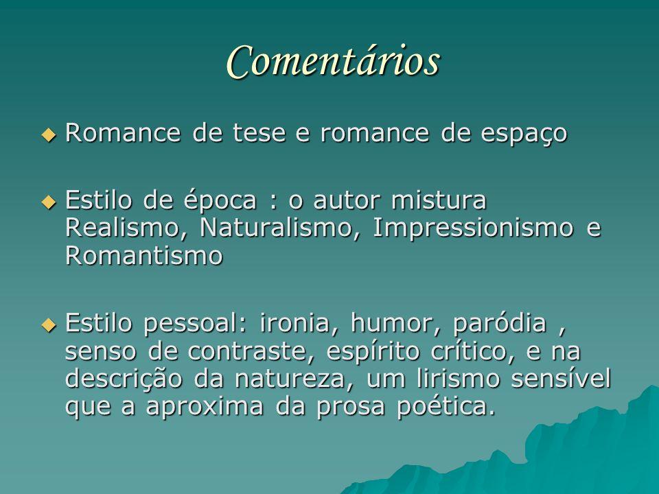 Comentários Romance de tese e romance de espaço Romance de tese e romance de espaço Estilo de época : o autor mistura Realismo, Naturalismo, Impressio
