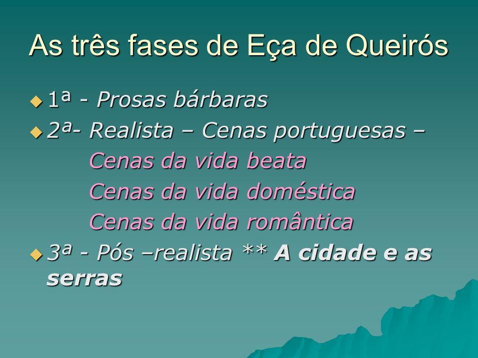 As três fases de Eça de Queirós 1ª - Prosas bárbaras 1ª - Prosas bárbaras 2ª- Realista – Cenas portuguesas – 2ª- Realista – Cenas portuguesas – Cenas