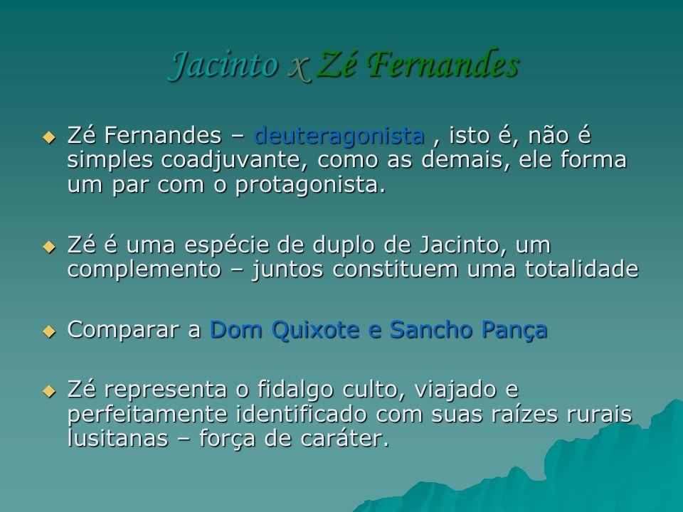 Jacinto x Zé Fernandes Zé Fernandes – deuteragonista, isto é, não é simples coadjuvante, como as demais, ele forma um par com o protagonista. Zé Ferna