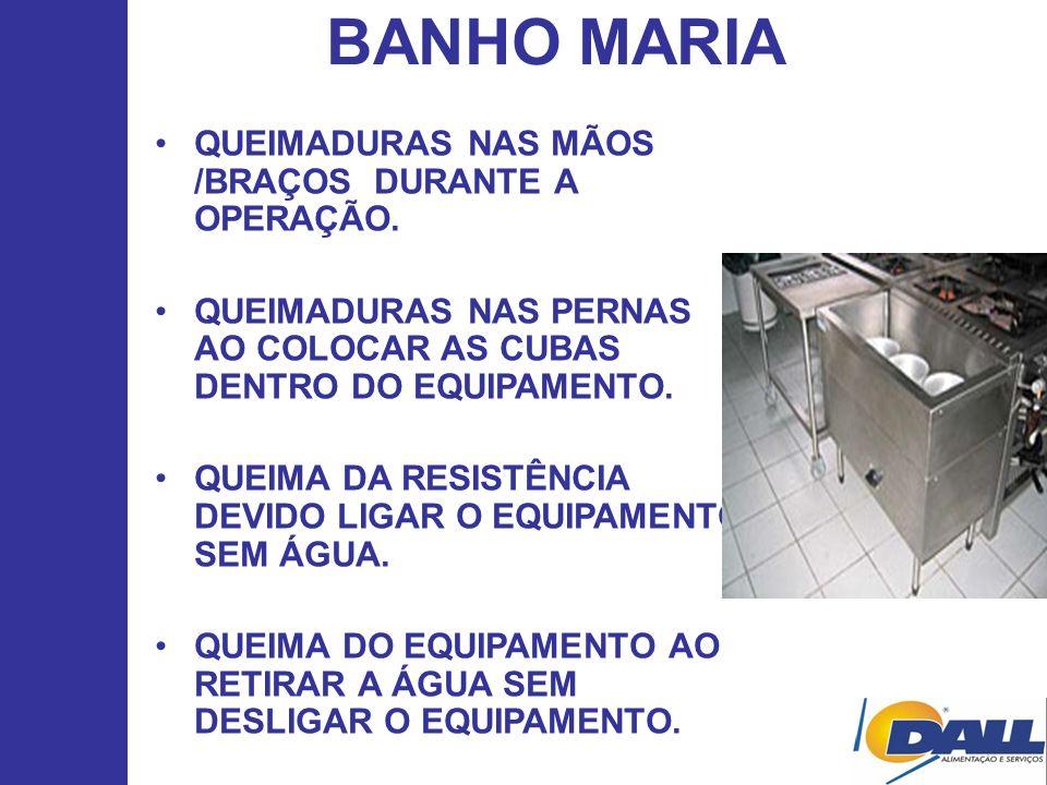 BANHO MARIA QUEIMADURAS NAS MÃOS /BRAÇOS DURANTE A OPERAÇÃO. QUEIMADURAS NAS PERNAS AO COLOCAR AS CUBAS DENTRO DO EQUIPAMENTO. QUEIMA DA RESISTÊNCIA D