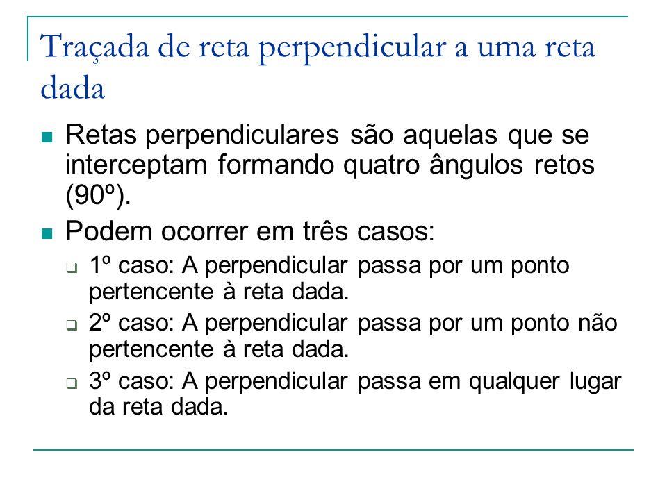 Traçada de reta perpendicular a uma reta dada Retas perpendiculares são aquelas que se interceptam formando quatro ângulos retos (90º). Podem ocorrer