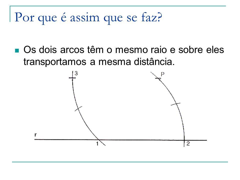 Por que é assim que se faz? Os dois arcos têm o mesmo raio e sobre eles transportamos a mesma distância.