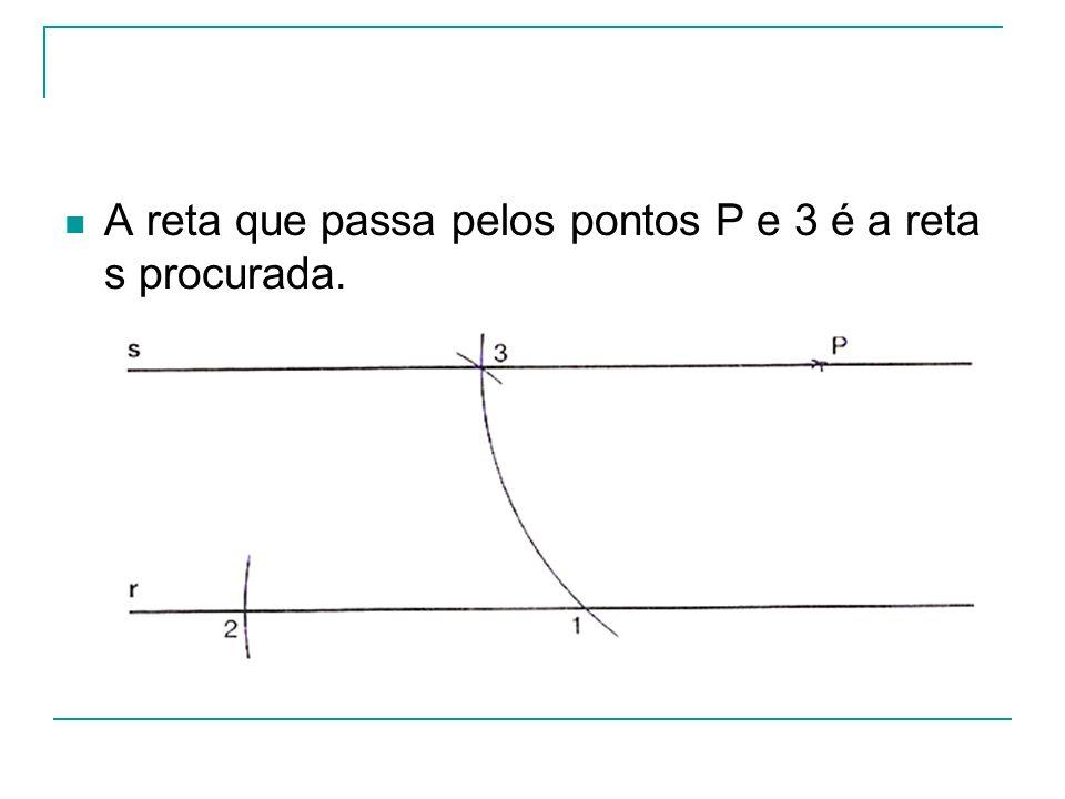 A reta que passa pelos pontos P e 3 é a reta s procurada.