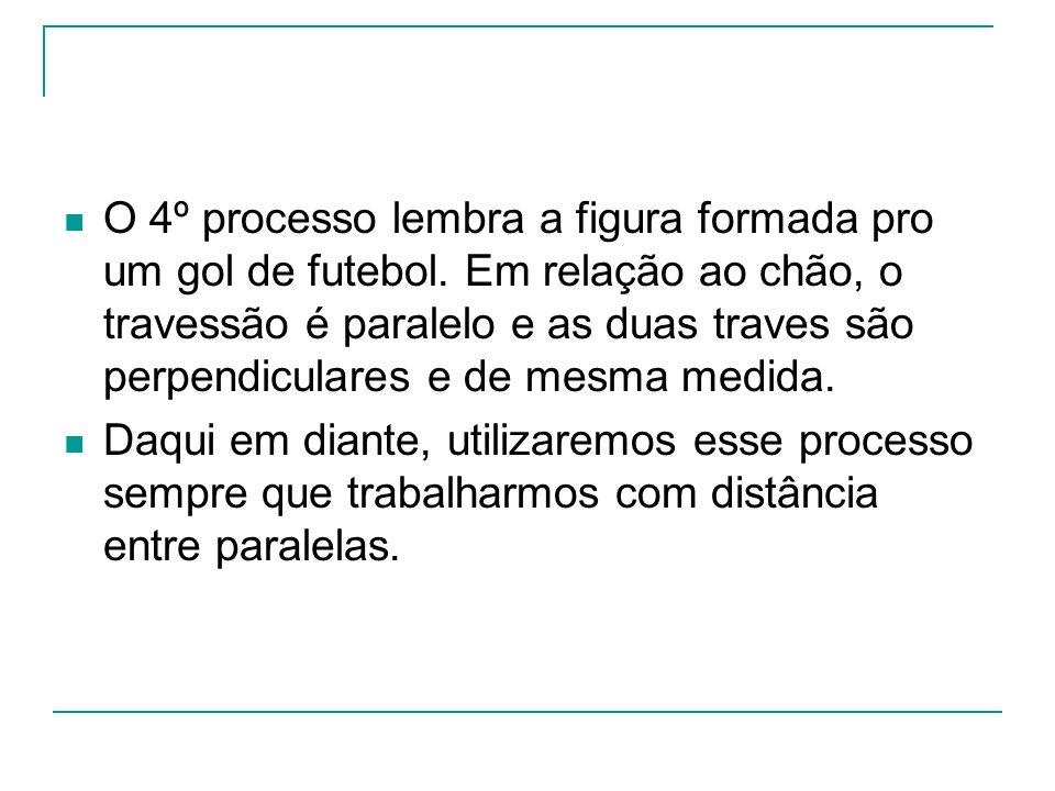 O 4º processo lembra a figura formada pro um gol de futebol. Em relação ao chão, o travessão é paralelo e as duas traves são perpendiculares e de mesm